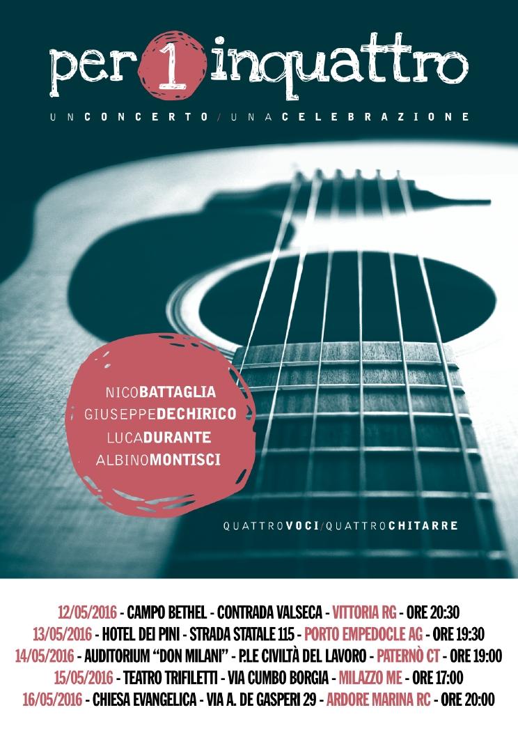 NUOVO TOUR PER1INQUATTRO  – MAGGIO 2016 IN SICILIA E CALABRIA!